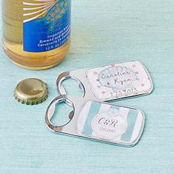Personalized Silver Bottle Opener with Epoxy Dome - Beach Tides