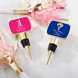 Personalized Gold Bottle Stopper with Epoxy Dome - Birthday