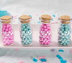Personalized Printed Vintage Milk Bottle Favor Jar - Gender Reveal (Set of 12)