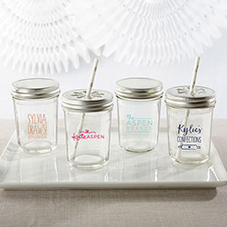 Personalized Printed Glass Mason Jar - Custom Logo (Set of 12)