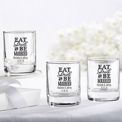 Personalized Shot Glass/Votive Holder - Eat, Drink & Be Married