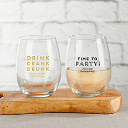 Personalized 9 oz. Stemless Wine Glass - Boozy Birthday