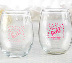 Personalized 9 oz. Stemless Wine Glass - Its a Girl!