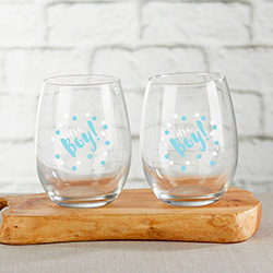 Its a Boy 15 oz. Stemless Wine Glass (Set of 4)