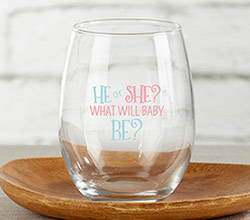 He or She? 15 oz. Stemless Wine Glass (Set of 4)