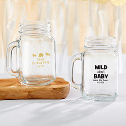 Personalized 16 oz. Mason Jar Mug - Safari