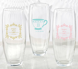 Personalized 9 oz. Stemless Champagne Glass - Tea Time