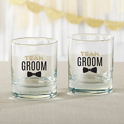 Team Groom 9 oz. Rocks Glass (Set of 4)