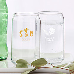 Personalized 16 oz. Can Glass - Pineapples and Palms