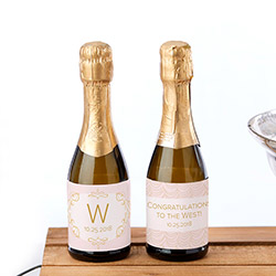Personalized Mini Wine Bottle Labels - Modern Romance