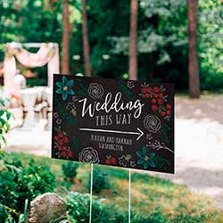 Personalized Directional Sign (18x12) - Chalk Wedding
